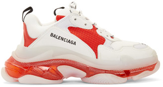 Balenciaga White and Red Triple S Clear Sole Sneakers
