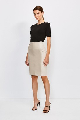 Karen Millen Faux Leather and Ponte Panelled Pencil Skirt