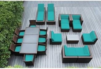 Bartol 20 Piece Complete Patio Set with Cushions Joss & Main Cushion Color: Sunbrella Aruba, Frame Color: Dark Brown