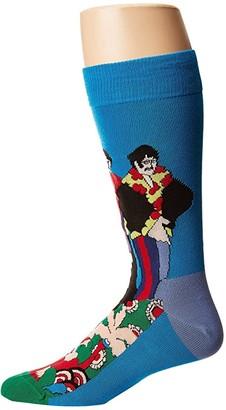 Happy Socks Beatles Pepperland Sock (Blue/Green) Men's Crew Cut Socks Shoes