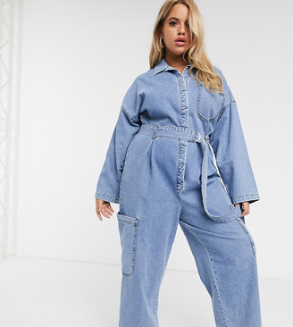 Asos DESIGN Curve denim boilersuit with utility pocket in light wash blue