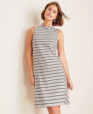 Ann Taylor Petite Modern Plaid Mock Neck Shift Dress