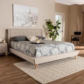 George Oliver Johansen Mid-Century Modern Wingback Upholstered Platform Bed Size: Queen, Color: Beige