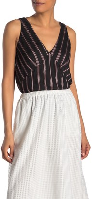 Rachel Roy Metallic Stripe V-Neck Tank Top