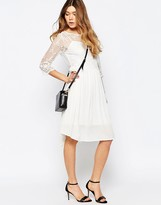 B.young 3/4 Sleeve Dress With Lace Overlay