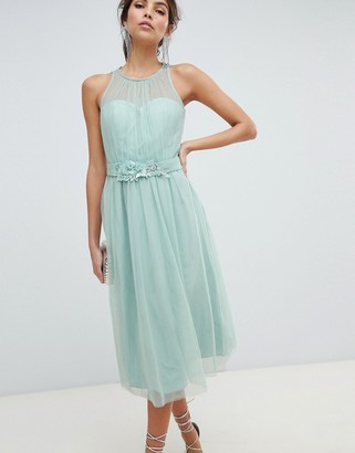 Little Mistress floral beadworkd applique mesh prom dress with sheer lace-Green