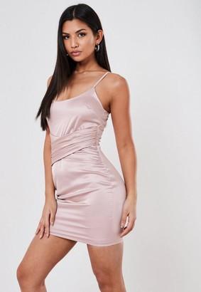 Missguided Blush Stretch Satin Drape Detail Mini Dress