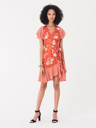 Diane von Furstenberg Avaya Ruffled Jacquard Wrap Dress