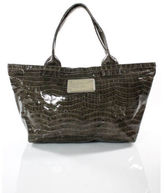 Marc by Marc Jacobs Gray Patent Leather Silver Tone Detail Tote Bag
