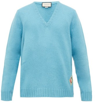 Gucci Logo-patch V-neck Wool Sweater - Blue