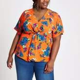 River Island Womens Plus orange floral knot front top