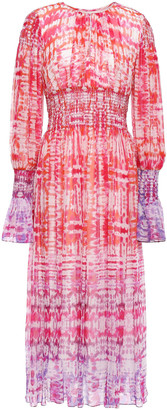 Prabal Gurung Shirred Tie-dyed Silk-chiffon Midi Dress