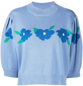 Rixo Floral-Embroidered Knitted Top