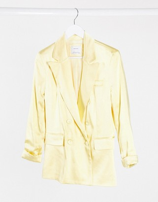 Bershka satin blazer in yellow