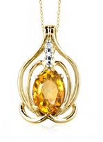 1 1/9 CT TW Citrine and Diamond Gold-Plated Silver Inner Aura Necklace by JewelonFire