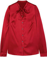 Dolce & Gabbana Pussy-bow Silk-blend Satin Blouse - Red