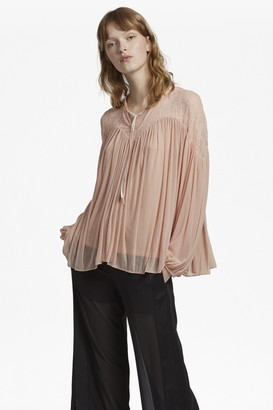 French Connection Lassia Lace Jersey Tie Neck Top