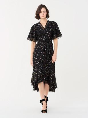 Diane von Furstenberg Berdina Metallic Clip High-Low Wrap Dress