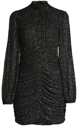 Jay Godfrey Farre Beaded High-Neck Mini Dress