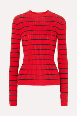 Sonia Rykiel Striped Ribbed-knit Wool-blend Sweater - Red