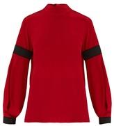 Amanda Wakeley High-neck bi-colour silk crepe de Chine blouse