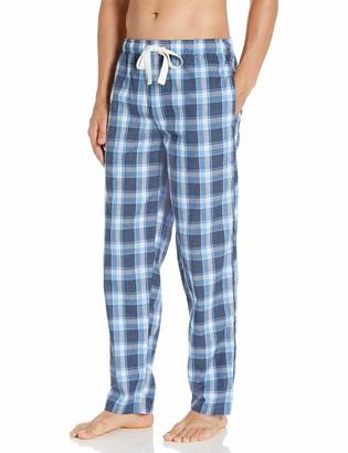 Izod Men's Plaid Print Relaxed Fit Poplin Drawstring Sleep Pant