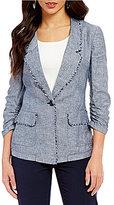 Jones New York Cross-Dye Linen-Blend Frayed Edge Boyfriend Jacket
