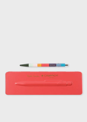 Paul Smith Caran d'Ache + 849 'Artist Stripe' Ballpoint Pen With Coral Pink Case