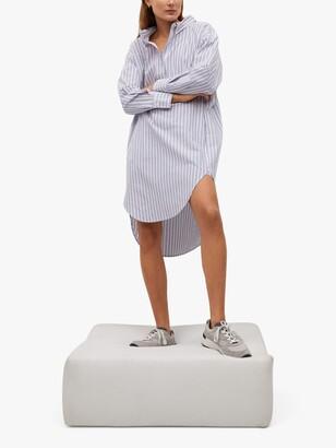 MANGO Striped Midi Shirt Dress, Medium Blue