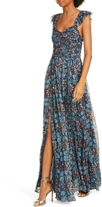 Ulla Johnson Evianna Metallic Shibori Silk Blend Maxi Dress
