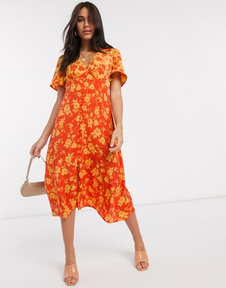 Neon Rose button front midi dress in mixed floral print