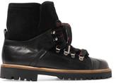GANNI - Edna Suede-trimmed Leather Ankle Boots - Black