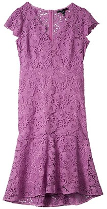 Maggy London Floral Lace Flounced High-Low Dress (Lavender) Women's Clothing