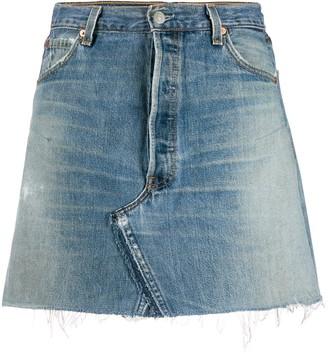 RE/DONE distressed-effect mini denim skirt