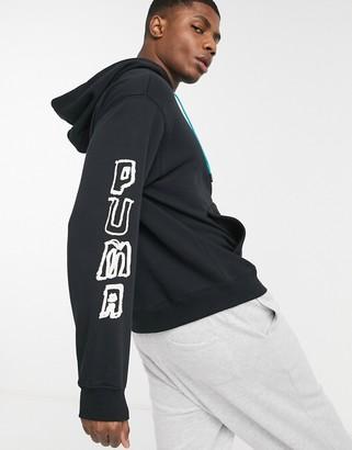 Puma Hoops oversized logo hoodie in black