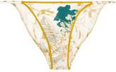 Carine Gilson Printed Stretch-silk Briefs - Petrol