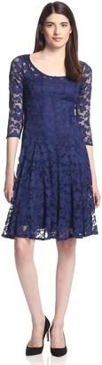 Chetta B Women's 3/4 Sleeve Magic Waist lace Dress