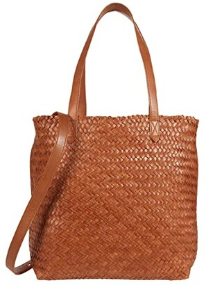Madewell Medium Transport Tote Woven Edition (Burnished Caramel) Handbags