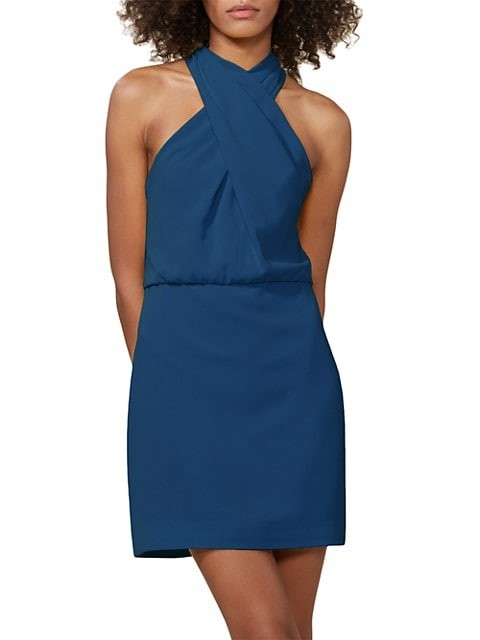 Halston Sleeveless Crossover Halter Sheath Dress