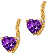 Gem Stone King 0.81 Ct Heart Shape Purple Amethyst and Diamond 14k Yellow Gold Earrings