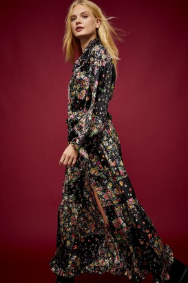 Topshop IDOL Ruffle Patchwork Print Midi Dress