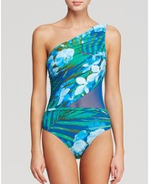 Carmen Marc Valvo One Shoulder One Piece Swimsuit