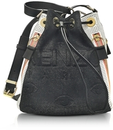 Kenzo Metallic Denim Black and Leather Kombo Bucket Bag