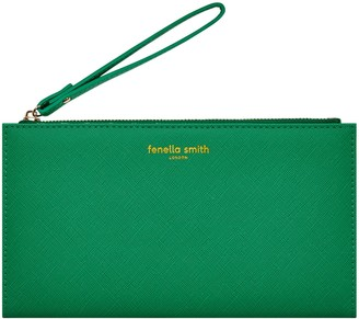 Green Vegan Leather Wristlet Purse