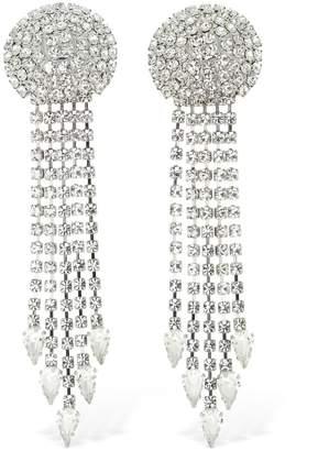 Alessandra Rich Long Crystal Fringe Clip-on Earrings
