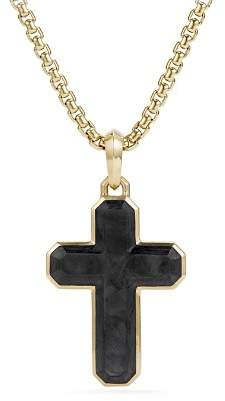 David Yurman Men's Forged Carbon Cross Tag with 18K Gold