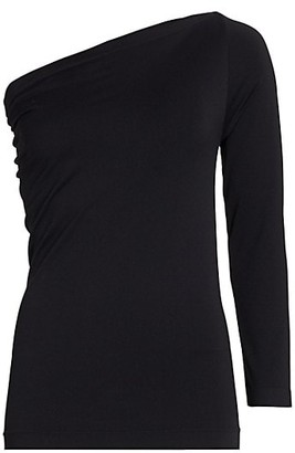 Helmut Lang One-Shoulder Long Sleeve Seamless Top