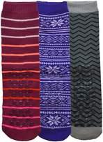 Sockbin Womens Gripper Socks, Non-Skid Soles, Soft Cotton Slipper Socks, 1 Pair Purple Snowflake