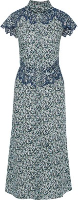 Paco Rabanne Broderie Anglaise-trimmed Floral-print Cotton-poplin Midi Dress