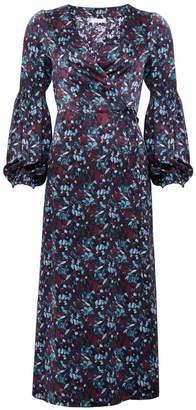 Phoebe Grace Rupee Puff Sleeve Wrap Midaxi Dress in Eucalyptus Print